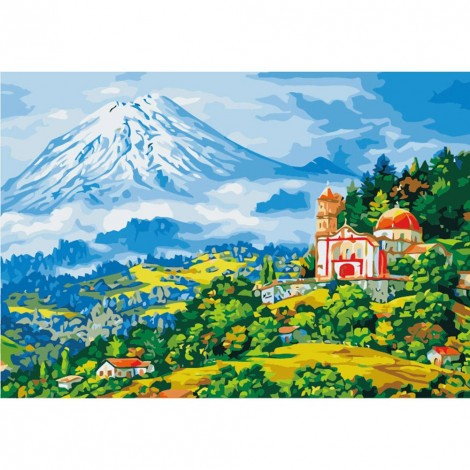 Paint-By-Number Snow Mountain Rural(40*50cm)